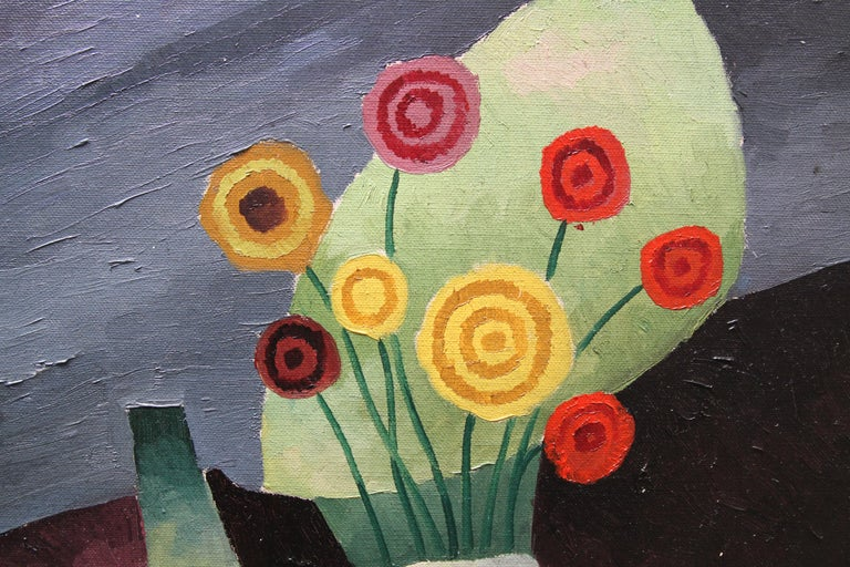 Floral Still Life - British art 1930 Post Cubist oil painting red yellow flowers For Sale 5