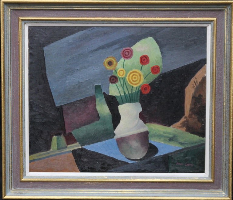 Paul Earee Interior Painting - Floral Still Life - British art 1930 Post Cubist oil painting red yellow flowers