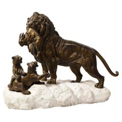 Paul-Edouard Delabriere (French, 1829-1923) Large Bronze Sculpture of A Lion