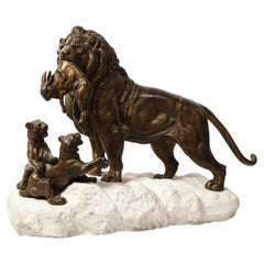 Paul-Edouard Delabriere 'French, 1829-1923' Large Bronze Sculpture of A Lion
