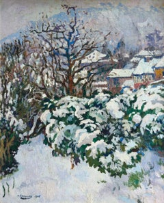 Effet de Neige - Post-Impressionist Oil, Snowy Winter Landscape by Paul Gernez