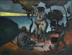 Le Jardin D'Eden - 20th Century Oil, Nude Figures in Landscape by P E Gernez