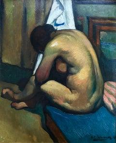 Nu assis de dos - Post-Impressionist Oil, Nude in Interior by Paul Elie Gernez