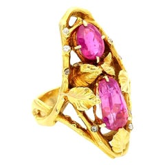 Paul Emile Brandt Gold and Pink Sapphire Ring of Naturalistic Foliate Design