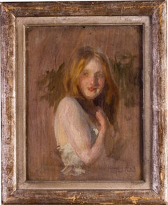 A beautiful 19th Century French oil study of a maiden by Paul Emile Chabas