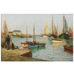 "Paul Emile Lecomte 1877-1950 Oil on Canvas, ""High Tide"""
