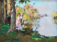 Au bord de l'eau - 19th Century Oil, Figure by River in Landscape by P E Lecomte