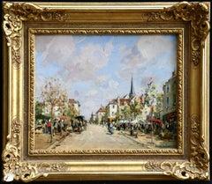 Market Day - 19th Century Oil, Figures in Street Scene Landscape by Paul Lecomte