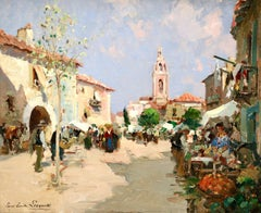 Market Day - 20th Century Oil, Figures in Landscape by Paul Emile Lecomte