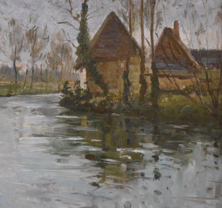 Paul Emile Lecomte (1877-1950)  A river landscape, Oil on panel - Gray Landscape Painting by Paul Emile Lecomte