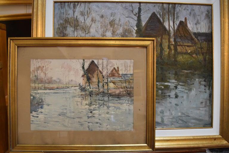 Paul Emile Lecomte (1877-1950)  A river landscape, Oil on panel For Sale 2