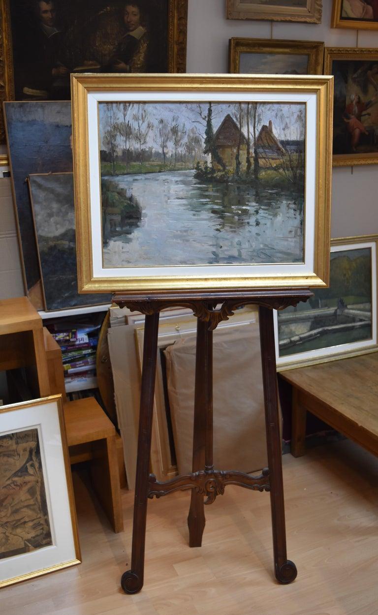 Paul Emile Lecomte (1877-1950)  A river landscape, Oil on panel For Sale 3