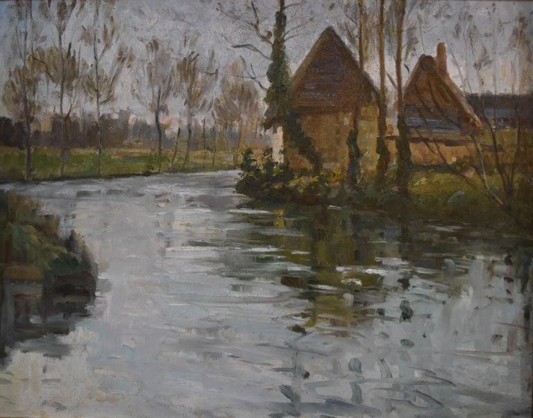 Paul Emile Lecomte (1877-1950)  A river landscape, Oil on panel - Painting by Paul Emile Lecomte
