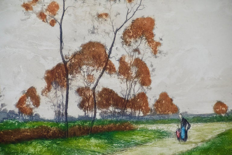 A Signed Etching of a Pastoral Scene in Picardy, France by Paul Emile Lecomte For Sale 2