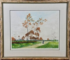 A Signed Etching of a Pastoral Scene in Picardy, France by Paul Emile Lecomte