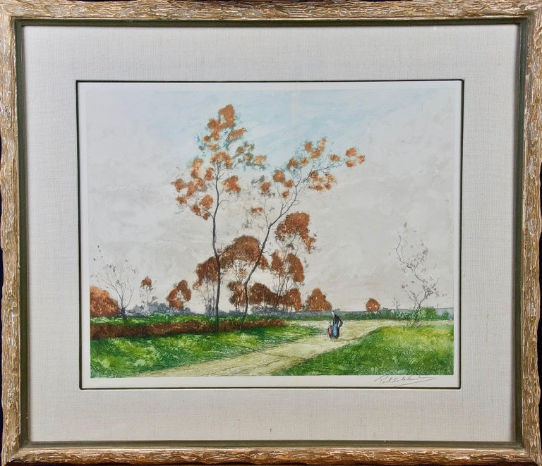 A beautiful aquatint etching of a serene pastoral scene in the Picardy region of northern France by Paul Emile Lecomte (1877-1950). A mother and child are seen walking down a path in a rural area, with a small village in the distance.  Lecomte was a