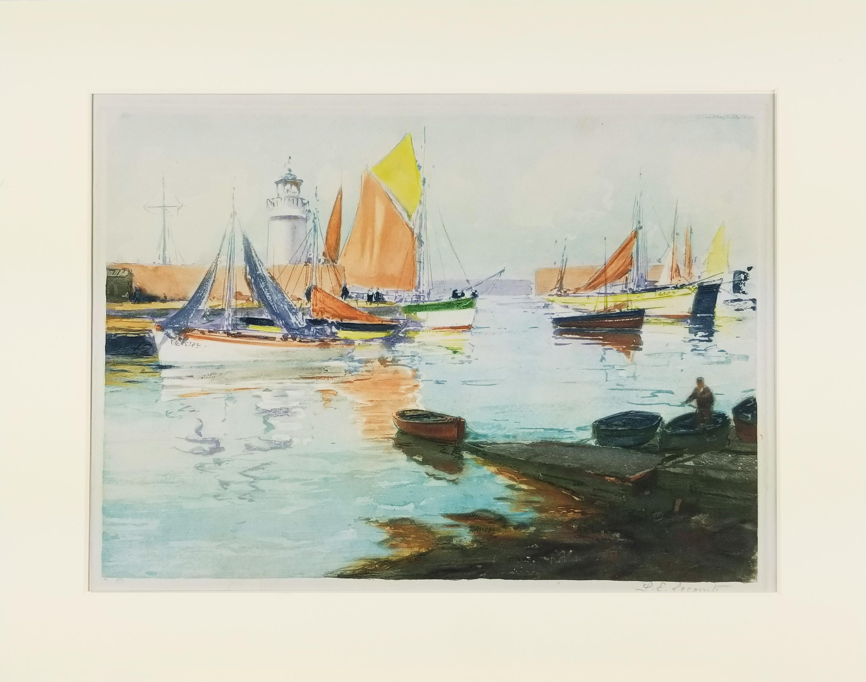 Quiet Boats in the Harbor Signed Etching