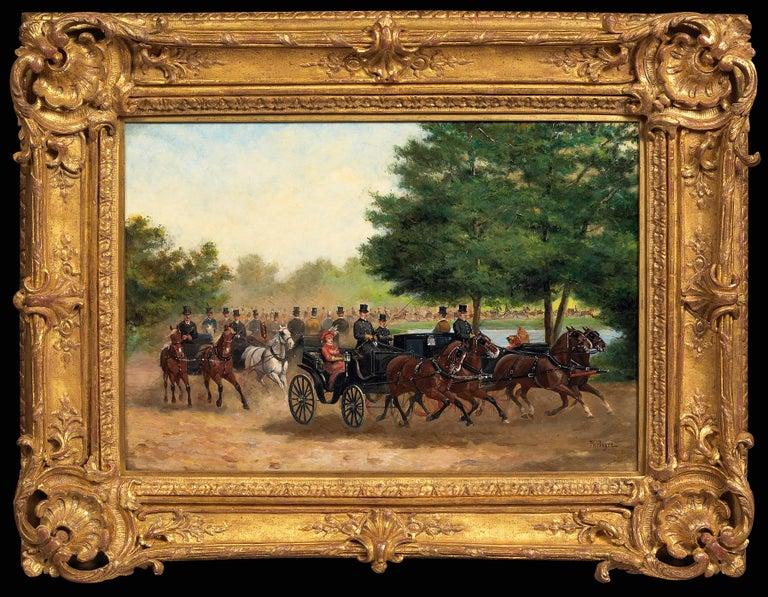 Paul Emile Léon Perboyre Figurative Painting - Calèches au Bois de Boulogne