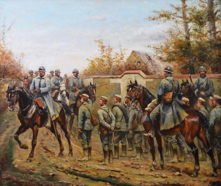 Military WW1 oil painting of French & German Soldiers  - Painting by Paul Emile Léon Perboyre