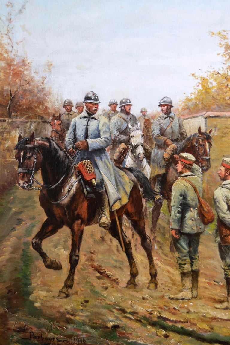 Military WW1 oil painting of French & German Soldiers  - Victorian Painting by Paul Emile Léon Perboyre