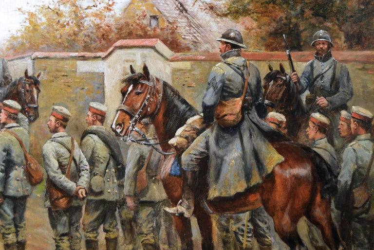 Military WW1 oil painting of French & German Soldiers  - Brown Figurative Painting by Paul Emile Léon Perboyre