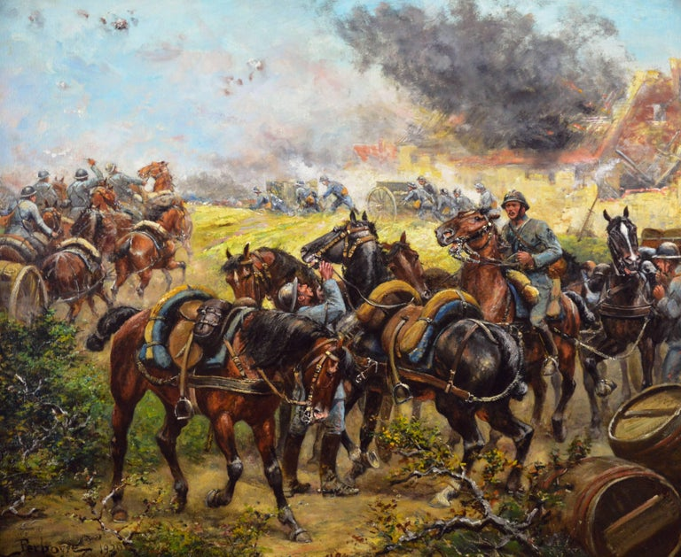 Military WW1 oil painting of French soldiers & cavalry - Painting by Paul Emile Léon Perboyre