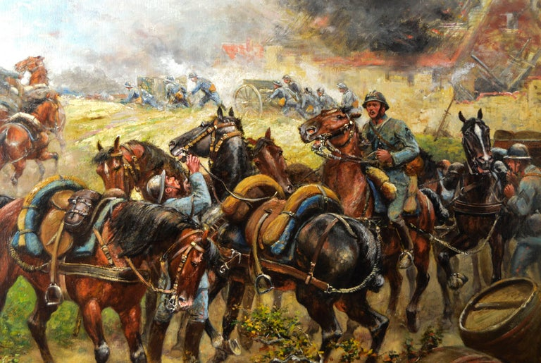 Military WW1 oil painting of French soldiers & cavalry - Victorian Painting by Paul Emile Léon Perboyre