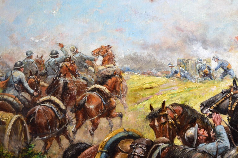 Military WW1 oil painting of French soldiers & cavalry - Brown Landscape Painting by Paul Emile Léon Perboyre
