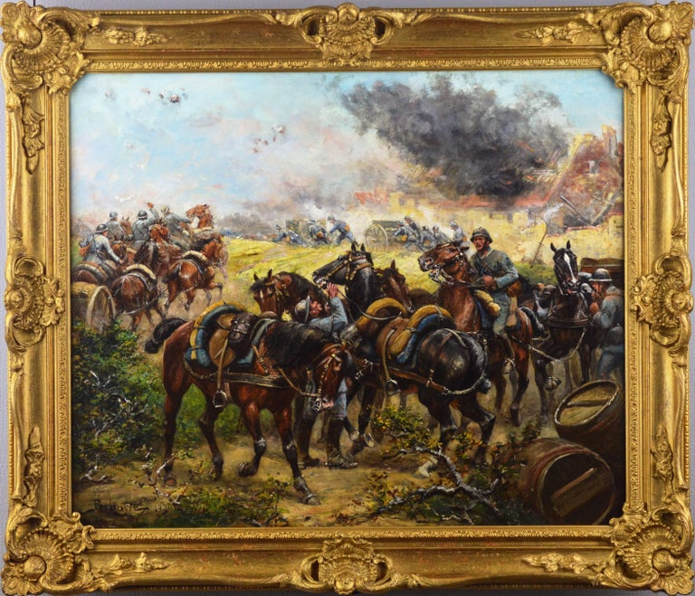Paul Emile Léon Perboyre Figurative Painting - Military WW1 oil painting of French soldiers & cavalry