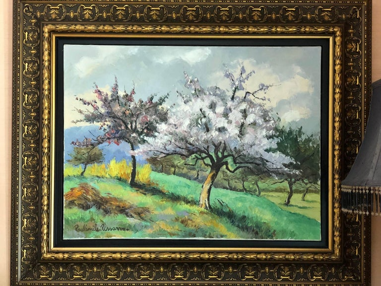 Paul-Emile Pissarro  1884-1972 (French)  apple trees in bloom.  Oil on canvas.  Measures: H 46, W 61 cm.  Signed lower left, signed again and titled on the reverse.