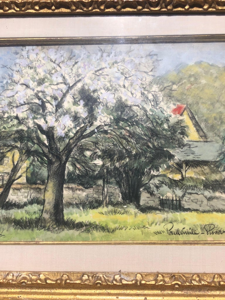 Landscape with Blooming Trees Paul-Emile Pissarro  1884-1972 French Paper size 9.5x12.5 under glass framed 12x16x1 signed.  Paulémile Pissarro, Camille's youngest son, was born in Eragny in 1884. He was brought up in the artistic environment of the