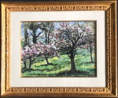 Cherry Blossom Trees Impressionist Landscape