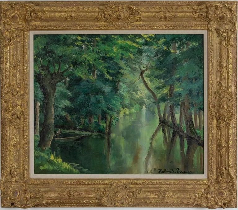 Barque sur la rivière by Paulémile Pissarro - Post-impressionist oil painting - Painting by Paul Emile Pissarro