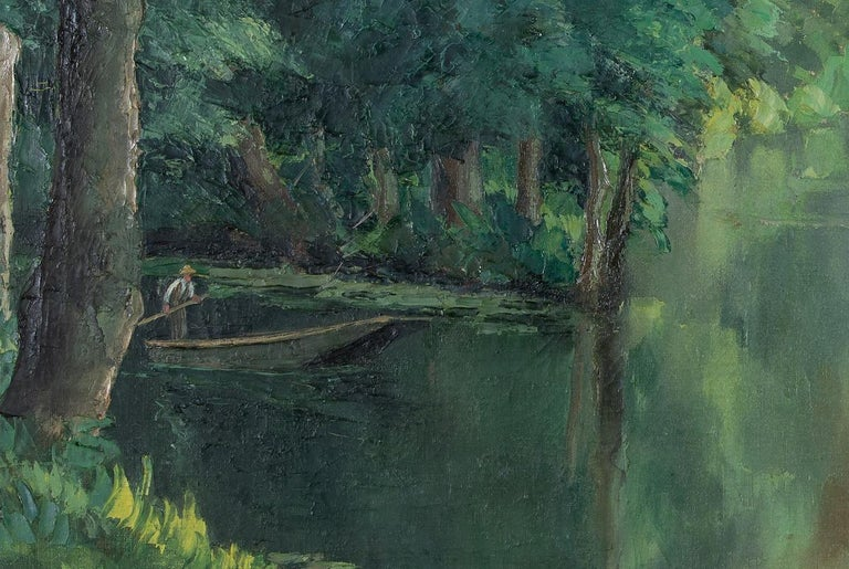 Barque sur la rivière by Paulémile Pissarro - Post-impressionist oil painting - Black Landscape Painting by Paul Emile Pissarro