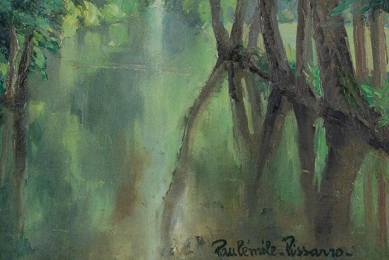 Barque sur la rivière by Paulémile Pissarro (1884 - 1972) Oil on canvas 54 x 65 cm (21 ¹/₄ x 22 inches) Signed lower right Paulémile Pissarro  This work is accompanied by a certificate of authenticity from Lélia Pissarro.  Artist biography Paulémile