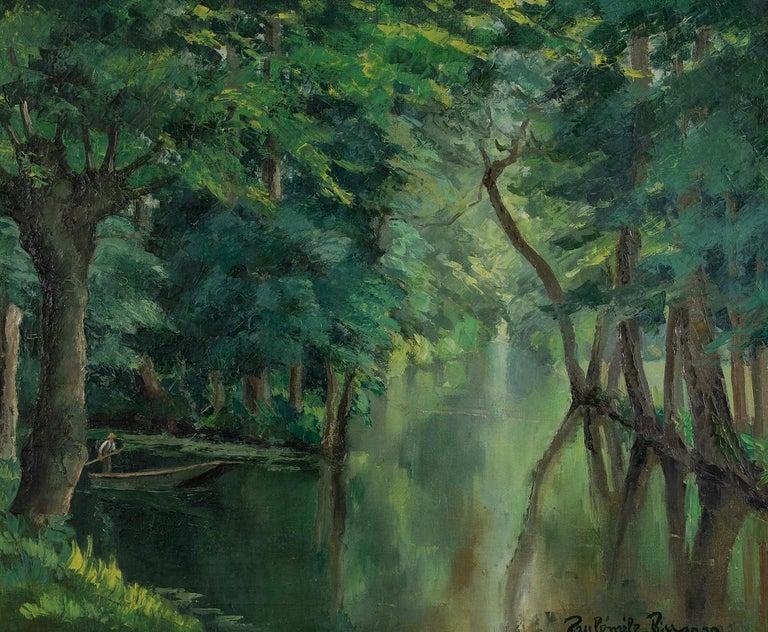 Paul Emile Pissarro Landscape Painting - Barque sur la rivière by Paulémile Pissarro - Post-impressionist oil painting