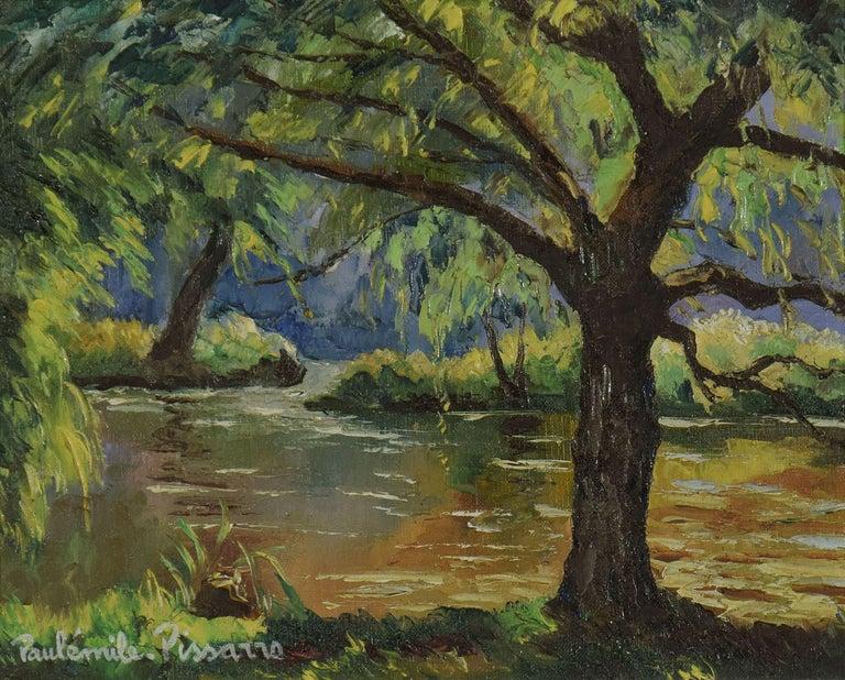 Bord de l'Orne by Paulémile Pissarro - Post Impressionist landscape/waterscape - Painting by Paul Emile Pissarro