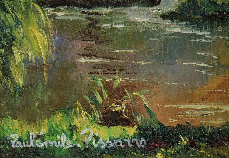 Bord de l'Orne by Paulémile Pissarro - Post Impressionist landscape/waterscape - Post-Impressionist Painting by Paul Emile Pissarro