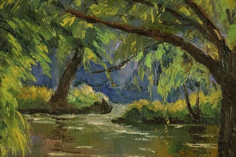 Bord de l'Orne by Paulémile Pissarro - Post Impressionist landscape/waterscape - Brown Figurative Painting by Paul Emile Pissarro