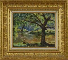 Bord de l'Orne by Paulémile Pissarro - Post Impressionist landscape/waterscape