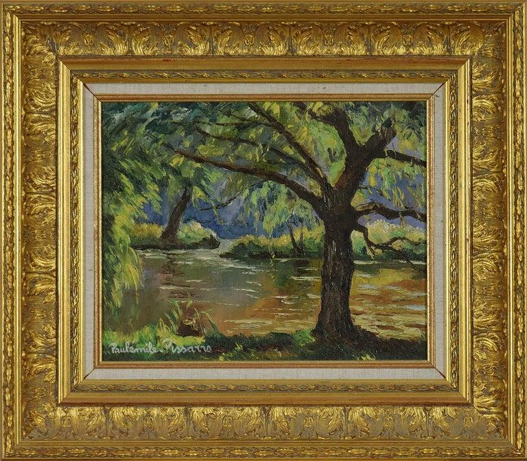 Paul Emile Pissarro Figurative Painting - Bord de l'Orne by Paulémile Pissarro - Post Impressionist landscape/waterscape