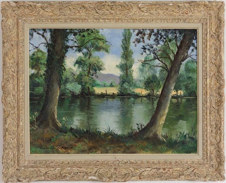 Bord de l'Orne by Paulémile Pissarro - Post-Impressionist oil river scene - Painting by Paul Emile Pissarro