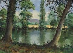 Bord de l'Orne by Paulémile Pissarro - Post-Impressionist oil river scene