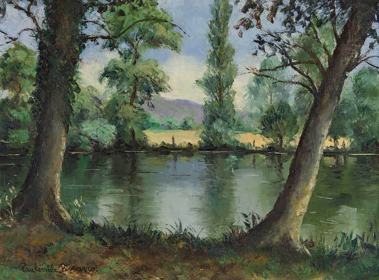 Paul Emile Pissarro Landscape Painting - Bord de l'Orne by Paulémile Pissarro - Post-Impressionist oil river scene