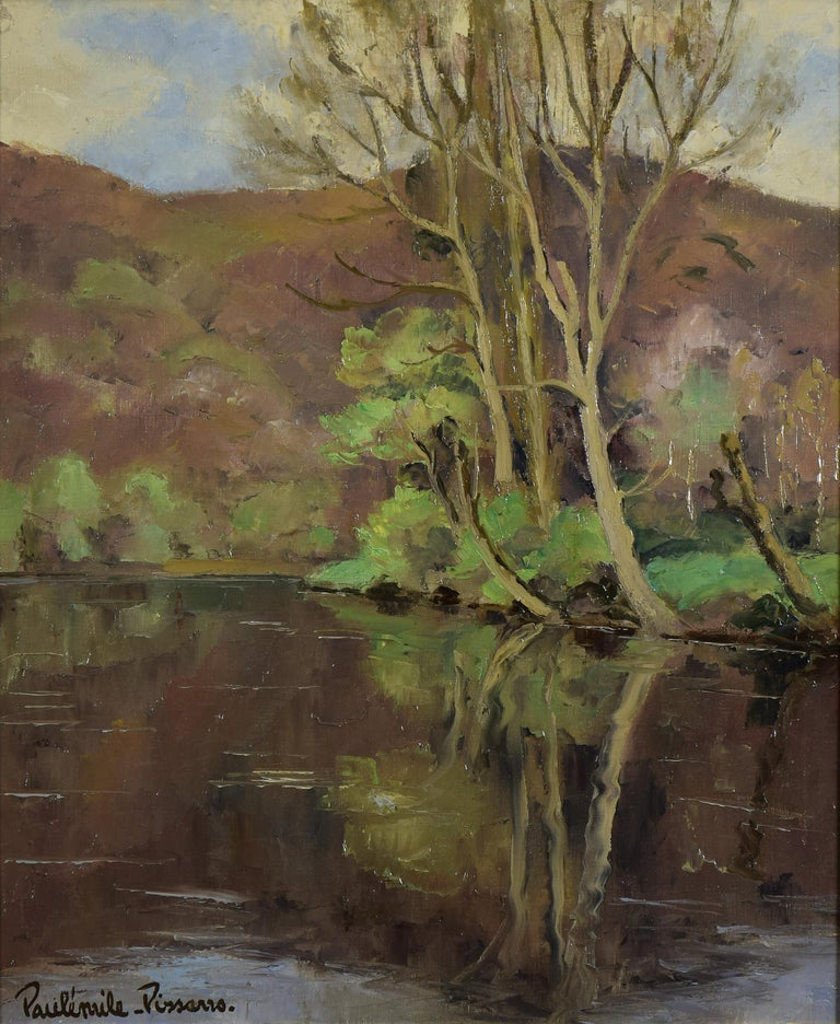 Cantepie en Avril by PAULÉMILE PISSARRO - Oil, Post-Impressionist, River scene - Painting by Paul Emile Pissarro