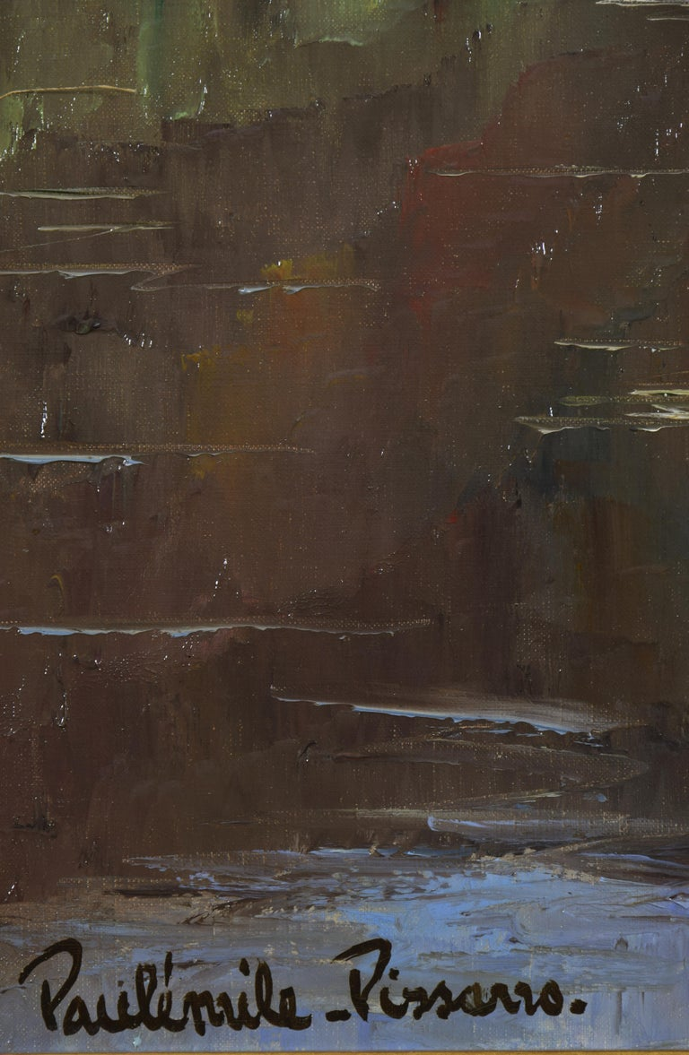 Cantepie en Avril by PAULÉMILE PISSARRO - Oil, Post-Impressionist, River scene - Brown Landscape Painting by Paul Emile Pissarro