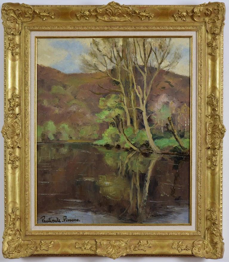 Paul Emile Pissarro Landscape Painting - Cantepie en Avril by PAULÉMILE PISSARRO - Oil, Post-Impressionist, River scene