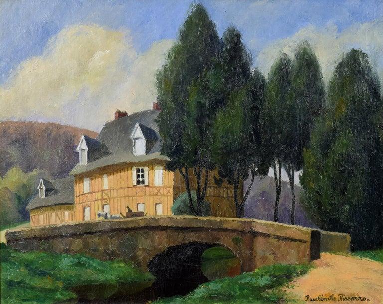 La Maison Normande au Bord du Ruisseau by PAULÉMILE PISSARRO - landscape art - Painting by Paul Emile Pissarro