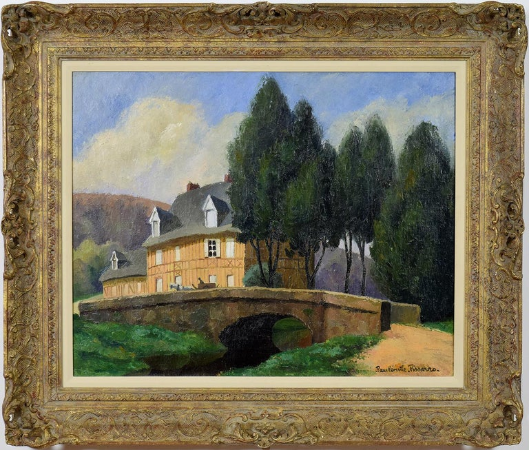 Paul Emile Pissarro Figurative Painting - La Maison Normande au Bord du Ruisseau by PAULÉMILE PISSARRO - landscape art
