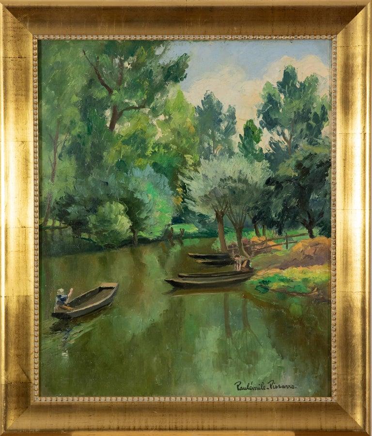 La Riviére Ombragée, La Garette by Paulémile Pissarro - Post-Impressionist  - Painting by Paul Emile Pissarro